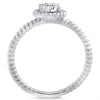Silver Braided 0.50 Carat CZ Solitaire Ring