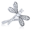 Sterling Silver Dragonfly CZ Fashion Ring