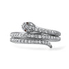 Sterling Silver Faux Diamond Snake Ring