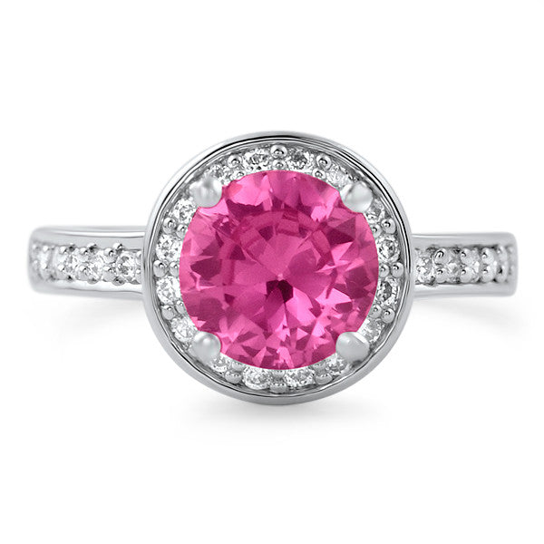 Pink CZ Halo Sterling Silver Fashion Ring