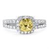 2.10 CTW Cushion Cut Canary CZ Split Shank Ring