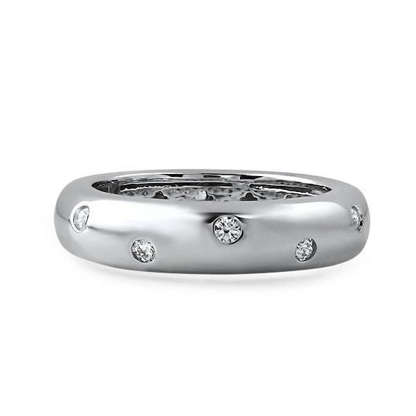 Sterling Silver Flush Set CZ Fashion Band