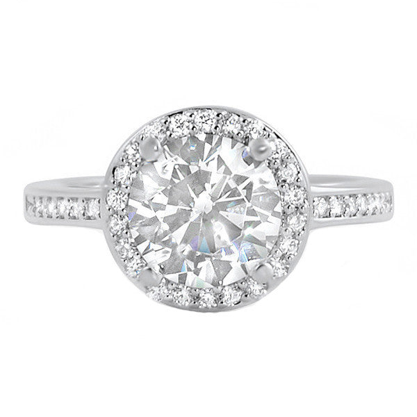 630bec94a576 2 Carat Silver 5A CZ Halo Engagement Ring – Jewelure