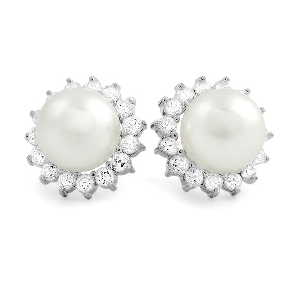 Silver Pearl Earrings With Removable CZ Halo