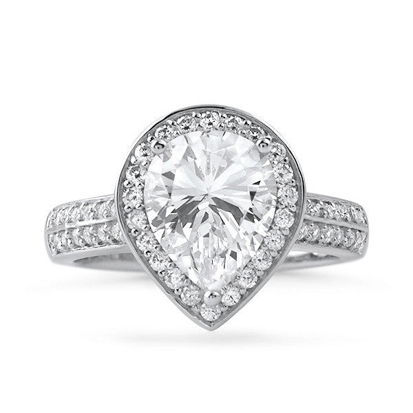 Sterling Silver Pear Cut CZ Halo Ring