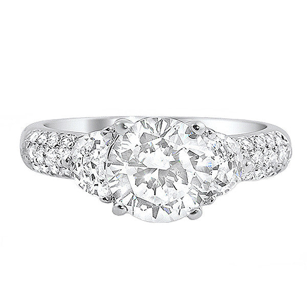3 Carat Round and Half Moon CZ Engagement Ring