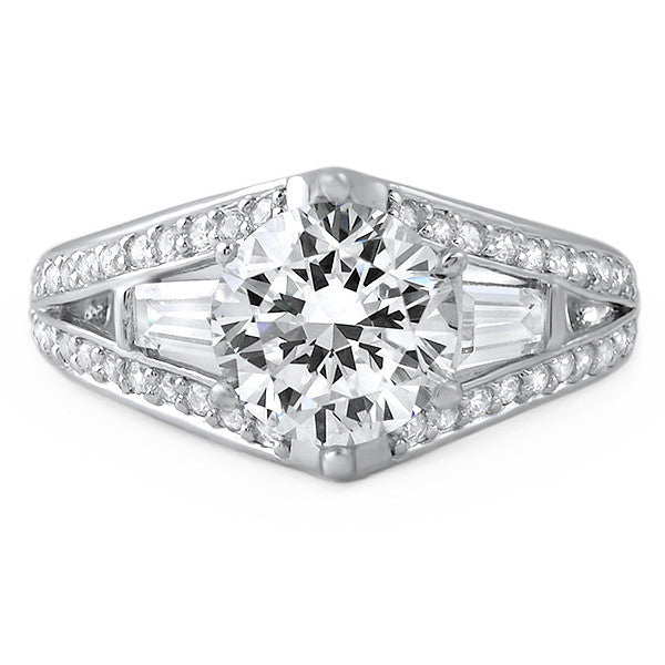 3.5 CTW Fancy 3 Stone CZ Engagement Ring