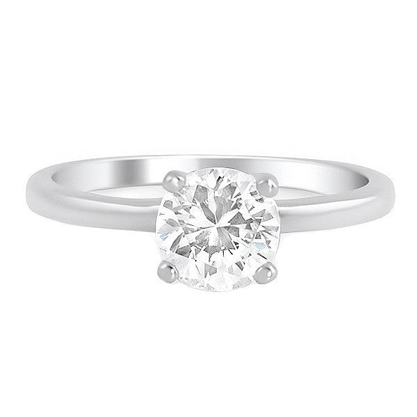 1 Carat Flawless CZ Solitaire Engagement Ring