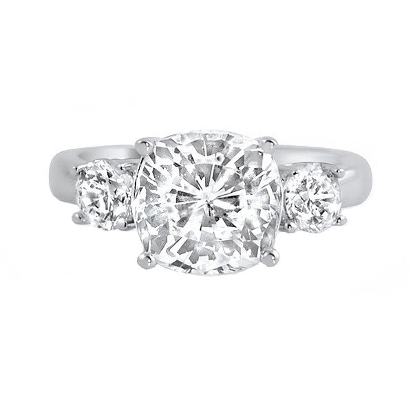 2.5 Carat Cushion Cut Classic 3 Stone CZ Ring