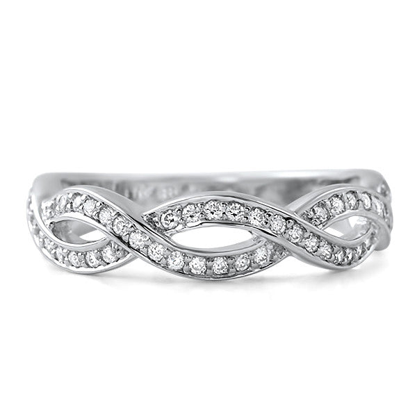 Micropave Sterling Silver CZ Woven Ring