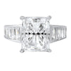 3.35 CTW Cushion Cut CZ Solitaire Baguette Ring