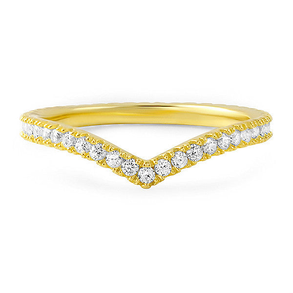 Gold CZ Winged Eternity Fashion Ring