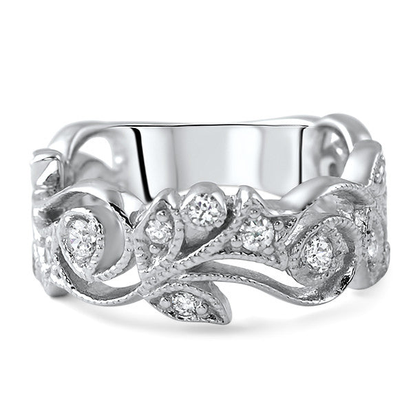 Sterling Silver CZ Fancy Floral Art Deco Ring