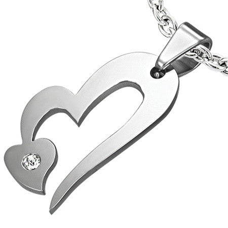 BEAUTY Polished Steel Double Heart Charm Set