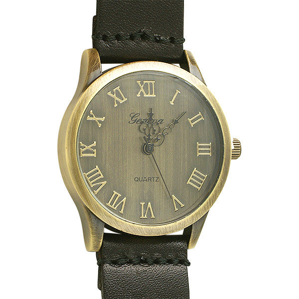 Aged Bronze Vintage Watch Black Strap