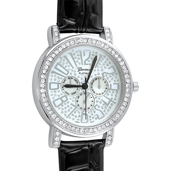 Black Patent Leather Crystal Fashion Watch