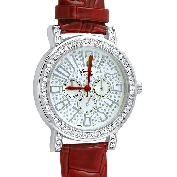 Red Patent Leather Crystal Fashion Watch
