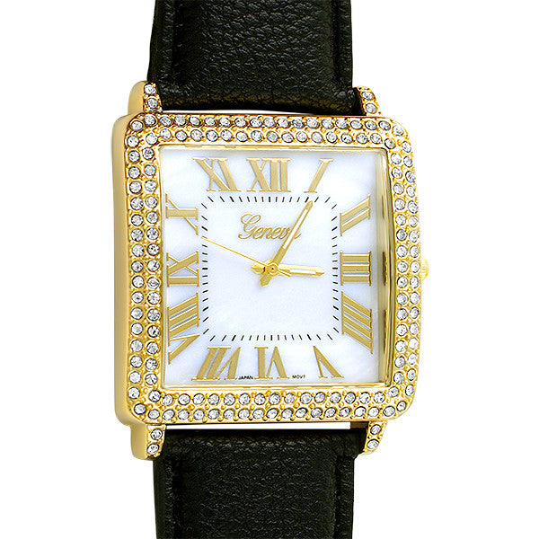 Gold Square Face Large Tank Watch Black Strap