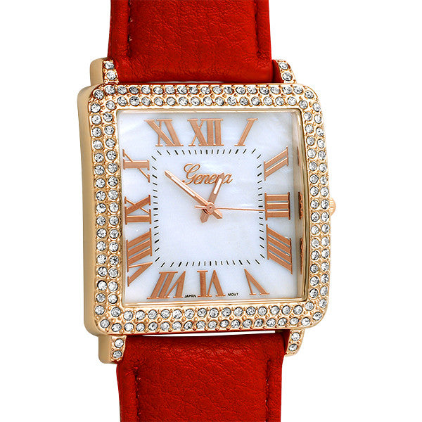 Rose Gold Square Face Large Tank Watch Red Strap