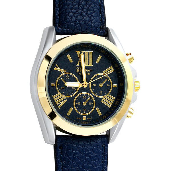 Gold Two Tone Sport Watch Blue Strap
