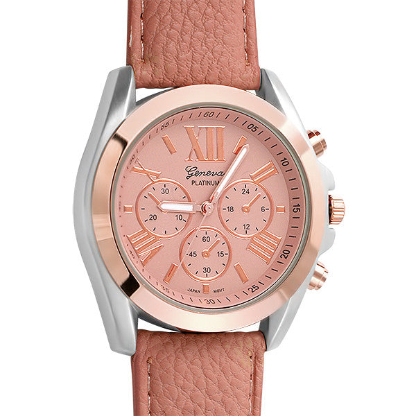 Rose Gold Two Tone Sport Watch Pink