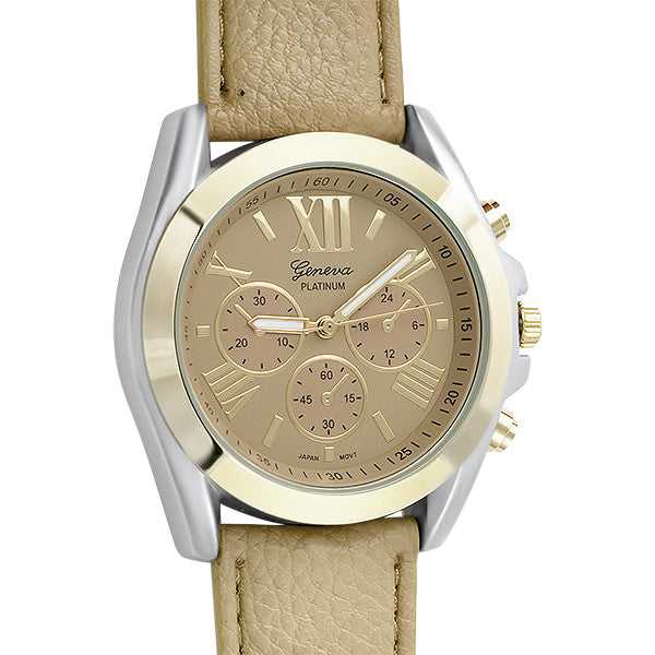 Gold Two Tone Sport Watch Tan Leather