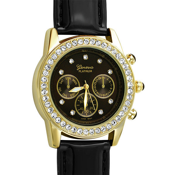 Gold Crystal Fashion Watch Brown Patent Strap