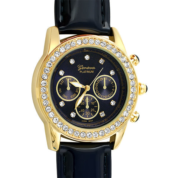 Gold Crystal Fashion Watch Blue Patent Strap
