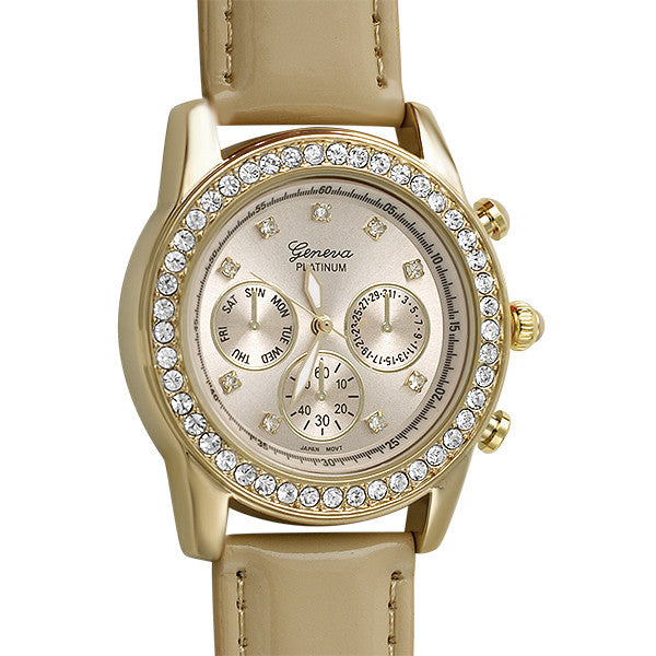Gold Crystal Fashion Watch Tan Patent Strap