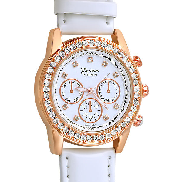 Rose Gold Crystal Fashion Watch White Strap