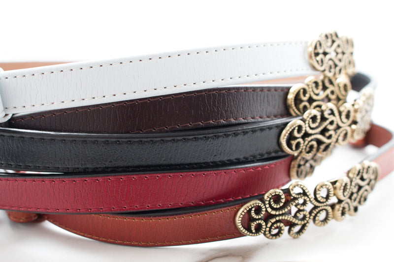 Vintage Leather Skinny Belt