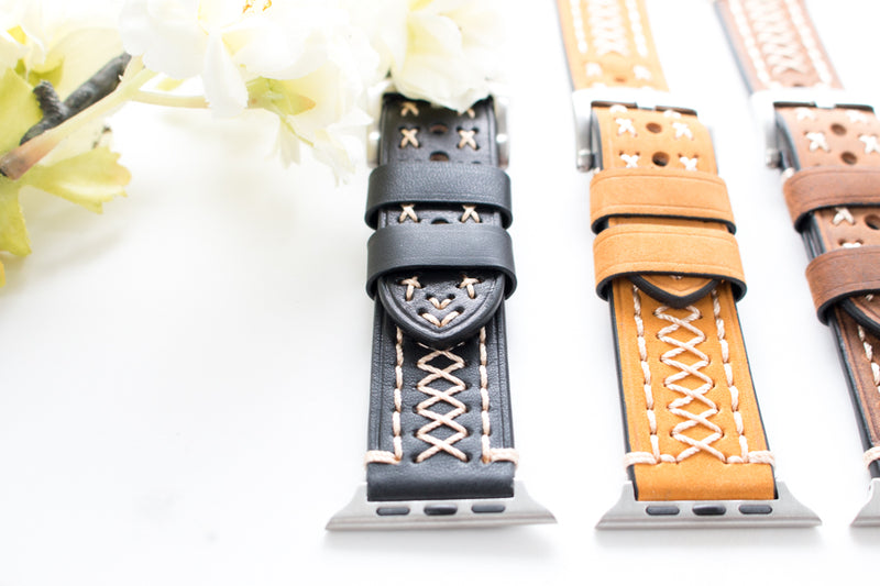 Leather Stitched Apple Watch Band