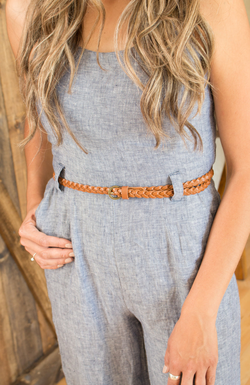 Leather Braided Skinny Belt