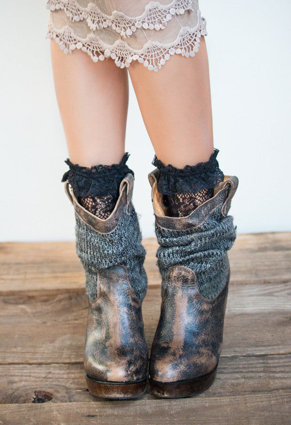 Lace Ankle Boot Socks