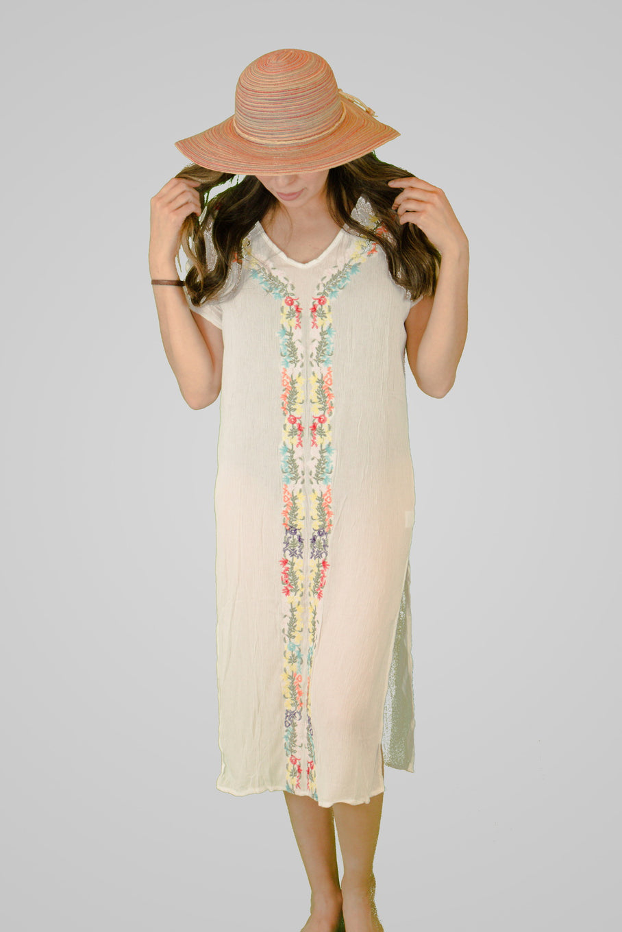 Embroidered Long Beach Cover Up
