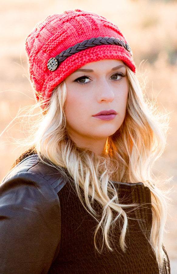 Wool Beanie With Braided Leather