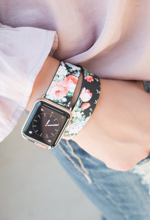 Leather Wrap Floral Apple Watch Band