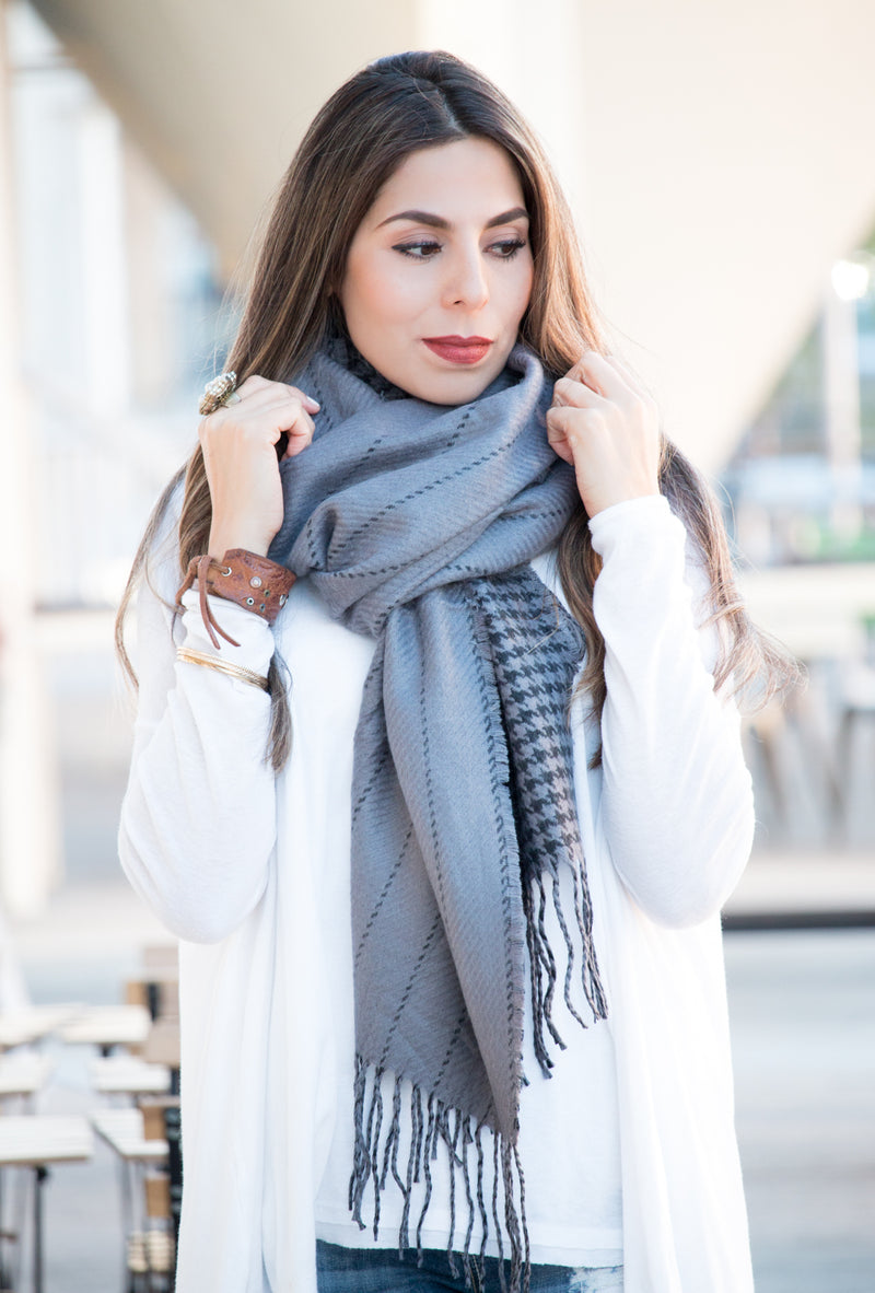 Cashmere Houndstooth Wrap & Scarf