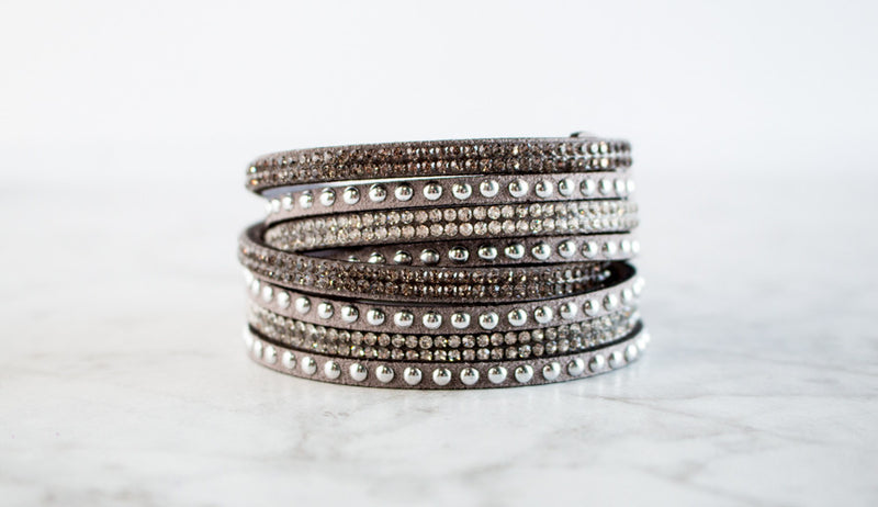 The Josie | Crystal & Silver Studded Leather Wrap Bracelet
