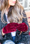 Velvet Gathered Gloves