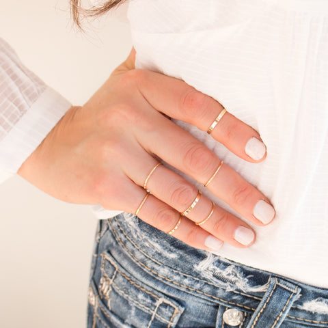 The Tessa | Rhodium Plated & Crystal Stacking Rings