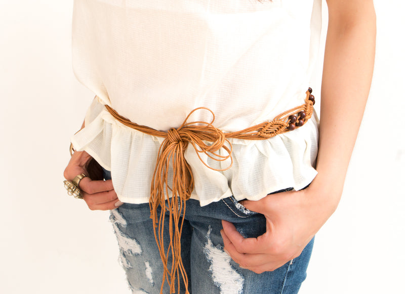 Boho Beaded Skinny Rope Belt