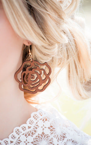 Suede Flower Drop Earrings