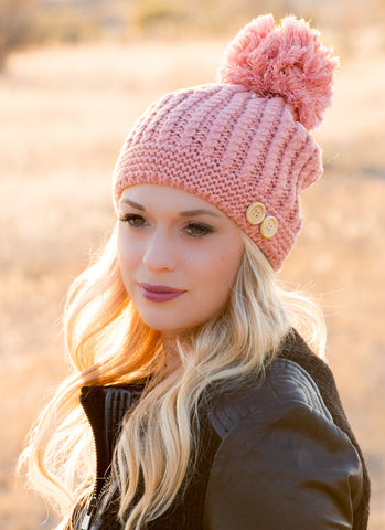Big Pom Pom & Buttons Knit Beanie