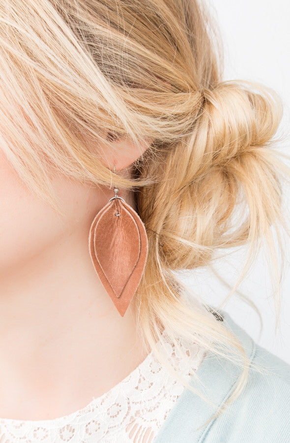 Leather Double Petal Earrings