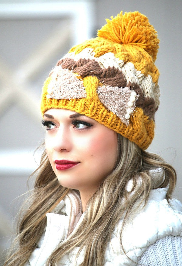 Knit Pom Pom & Pearls Hat
