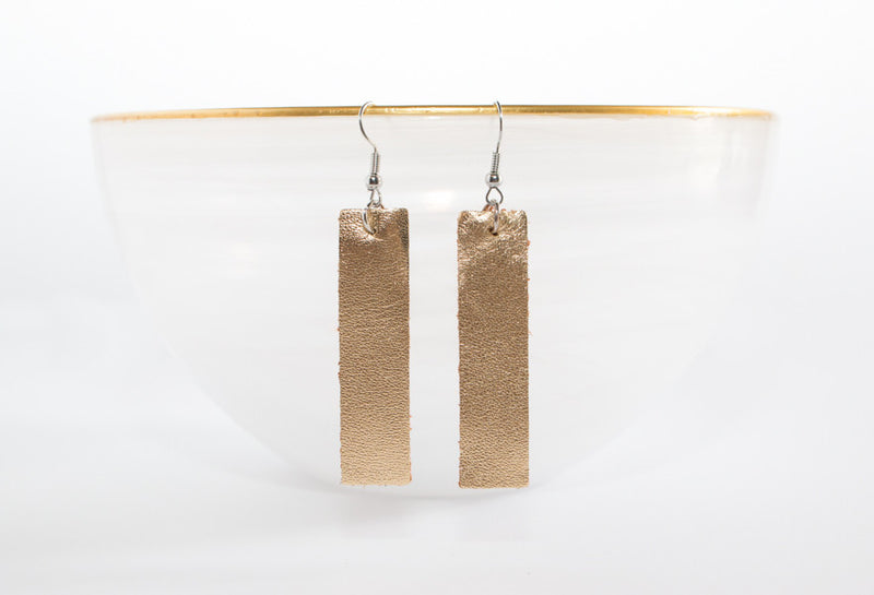 Leather Long Bar Earrings | 6 Colors