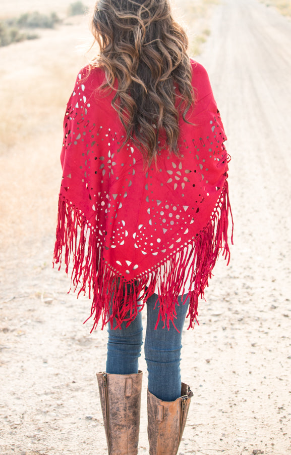 Suede Fringe Poncho | 6 Colors