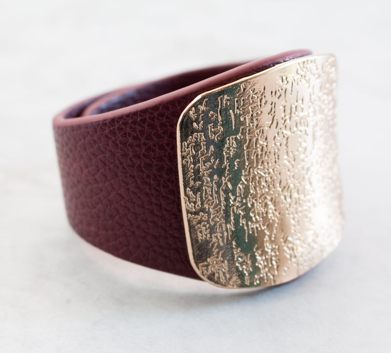 Leather & Stamped Metal Bracelet | 6 Colors
