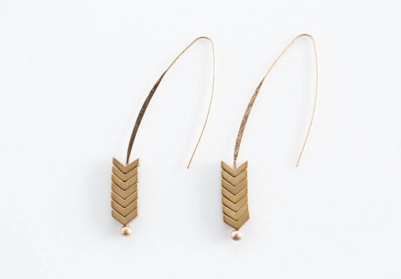 Arrow Stone Drop Earrings